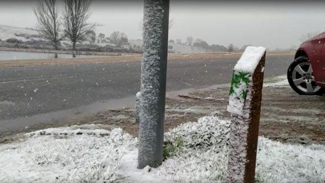 Bonita nevada caída está mañana en Navarredonda de la Rinconada